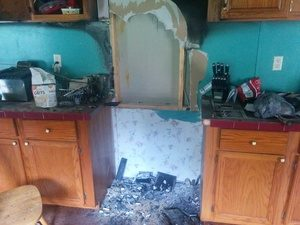 Fire Damage Of Kitchen Area
