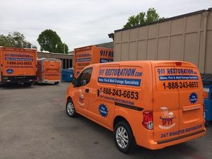 Sewage Damage Restoration Fleet Outside Headquarters